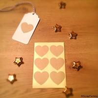 """""""Coeur"""" - 6 stickers kraft"""