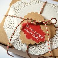 """""""Ne pas ouvrir avant Noël"""" - 6 stickers rouges"""