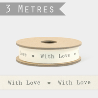 """With love"" - 3m de ruban coton"