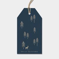 """""""Noël"""" - 6 grandes étiquettes épaisses bleues"""