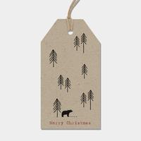 """""""Noël"""" - 6 grandes étiquettes épaisses marron"""