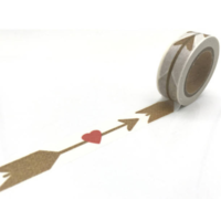 """Brown"" - Masking tape avec flèches et coeurs"