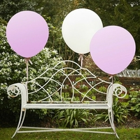 """Big"" - 3 gros ballons rose et blanc"