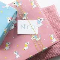 """""""Rouleau"""" - Joli papier cadeau licorne rose"""