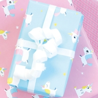 """""""Rouleau"""" - Joli papier cadeau licorne bleu"""