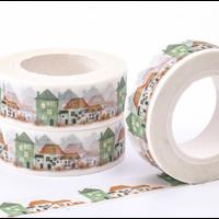 """Home"" - Masking tape avec des maisons"