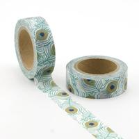 """""""Paon"""" - Masking tape avec des plumes de paon"""