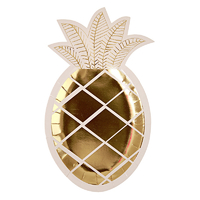 """Ananas"" - 8 assiettes dorées en carton"