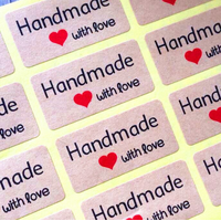 "120 autocollants ""Hadmade with love"""