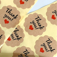 "100 autocollants ""Thank you"" en papier kraft"