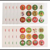 """""""Noël"""" - 24 stickers pour calendrier de l'Avent"""