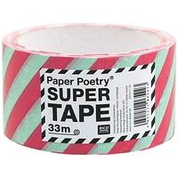 """""""Stripe"""" - Ruban d'emballage rouge et menthe 33m"""