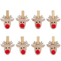 """""""Noël"""" - 8 pinces en forme de renne"""