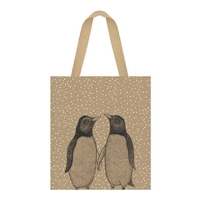 """Shopping bag"" - Grand sac en jute pingouins"