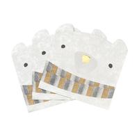 """""""Polaire"""" - 16 serviettes en forme d'ours"""