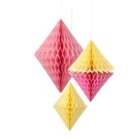 """""""Honeycomb"""" - 3 boules alvéolées en forme de diamants"""