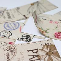 """""""Decoup"""" - 6 feuilles de tissu autocollant vintage"""