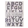 """""""Alphabet"""" - 10 planches de grandes lettres argentées et paillettes"""