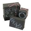 Kit d'emballage cadeau : papier ardoise, feutre craie et ficelle
