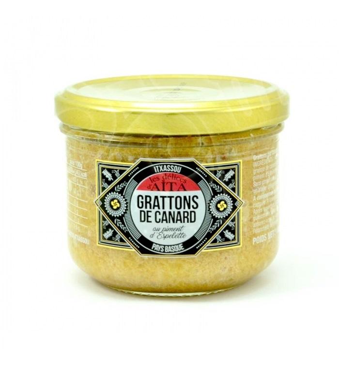 Grattons (rillettes) de canard au piment d\'Espelette - 180 gr