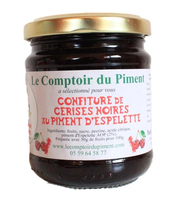 Confiture de cerises noires au piment d\'Espelette - 250 gr