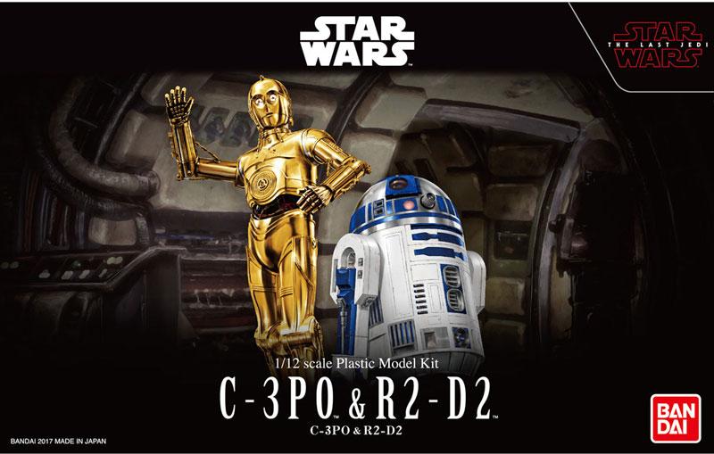 BANDAI STARWARS 1/12 C-3PO & R2-D2 MODEL KIT METAL FINISH