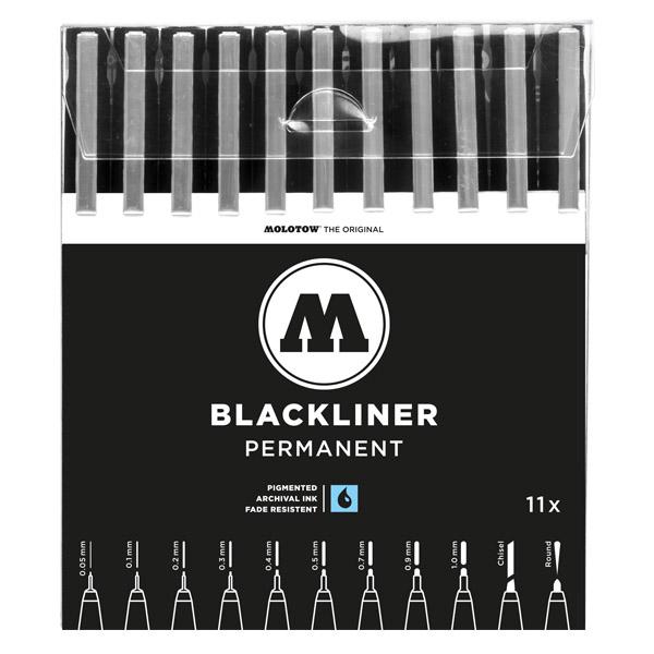 MOLOTOW BLACKLINER WALLET COMPLETE SET 11PCS