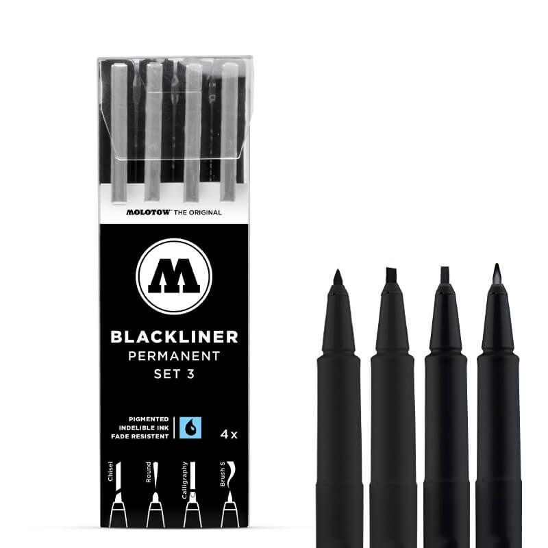 MOLOTOW BLACKLINER ETUI SET 3 4PCS