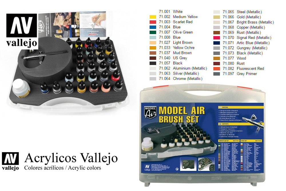 VALLEJO 50012 MODEL AIR 71172 COLOR SET AND AIRBRUSH