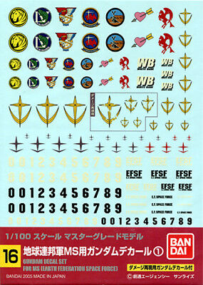 BANDAI 51593 GUNDAM DECAL 16 MG MULTI FEDERATION