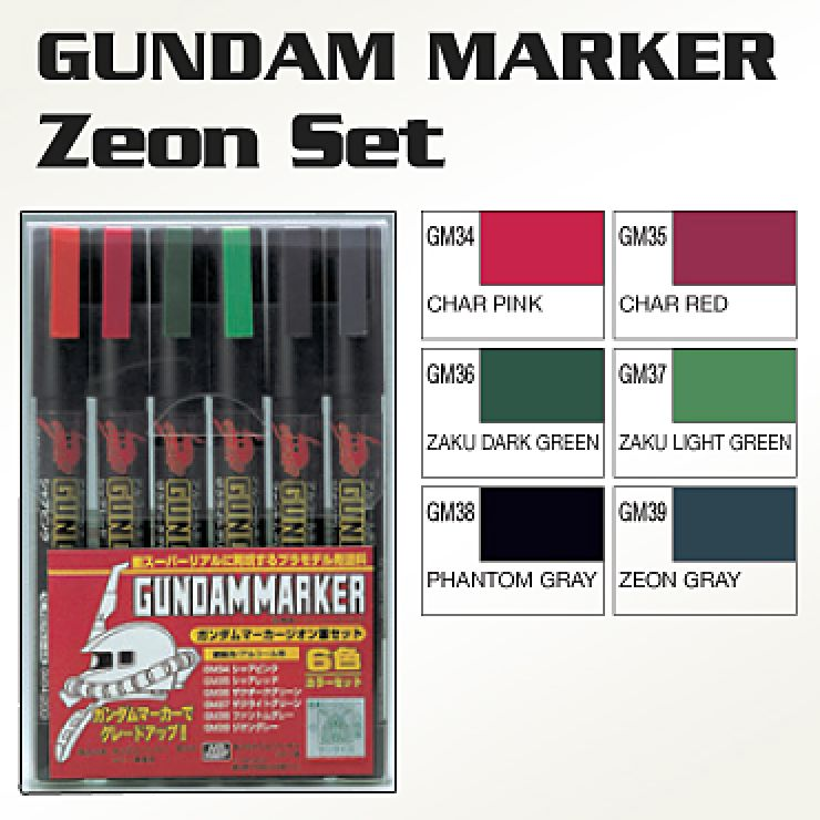 BANDAI GUN14541 GUNPLA MARKER CHARS SET 6 GUNDAM