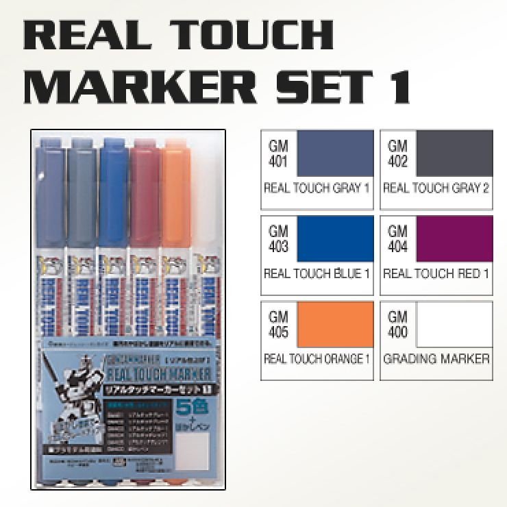 BANDAI GUNPLA MARKER REAL TOUCH 1 SET 6 GUNDAM
