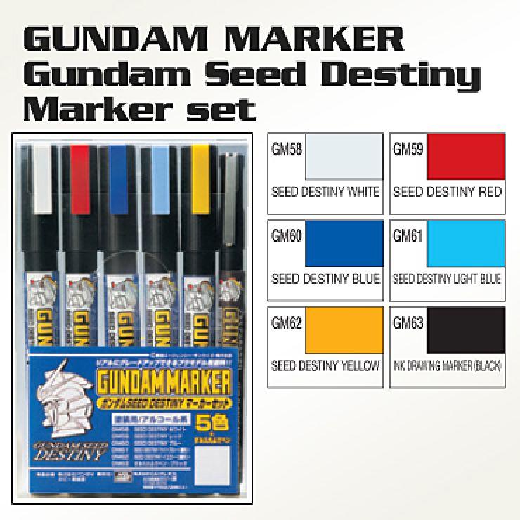 BANDAI GUNDAM MARKER SEED DESTINY SET 6
