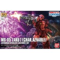 BANDAI GUNPLA HG 1/144 GUNDAM MS-05 ZAKU CHAR AZNABLE