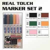 BANDAI GUNPLA MARKER REAL TOUCH 2 SET 6 GUNDAM