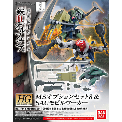 BANDAI GUNPLA HG 1/144 MOBILE SUIT OPTION SET 8 & SAU MOBIL WORKER GUNDAM