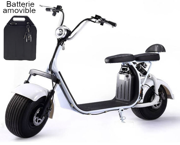 azur scooter scooter lectrique type harley blanc moteur 1500w 45km h. Black Bedroom Furniture Sets. Home Design Ideas
