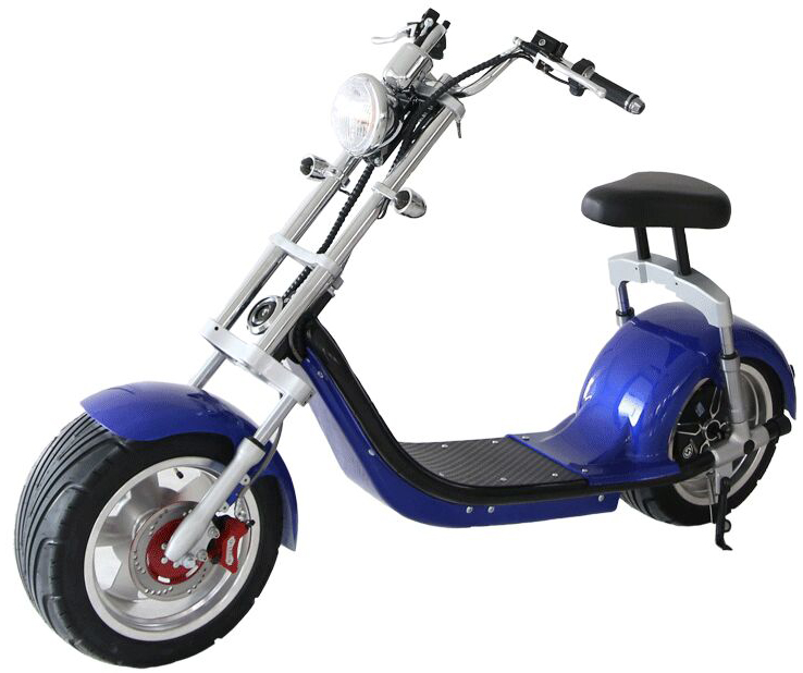 scooter lectrique type harley bleu homologu route fran aise azur scooter. Black Bedroom Furniture Sets. Home Design Ideas