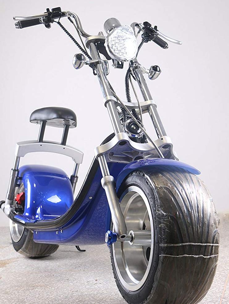scooter lectrique type harley bleu homologu route fran aise azur scooter. Black Bedroom Furniture Sets. Home Design Ideas