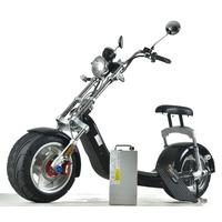 Scooter électrique type Chopper noir - moteur 1500 Watts, autonomie jusqu'à 45km