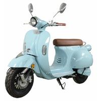 E-Azur Retro 50 : Scooter électrique Lycke bleu roma, certificat d'immatriculation inclus