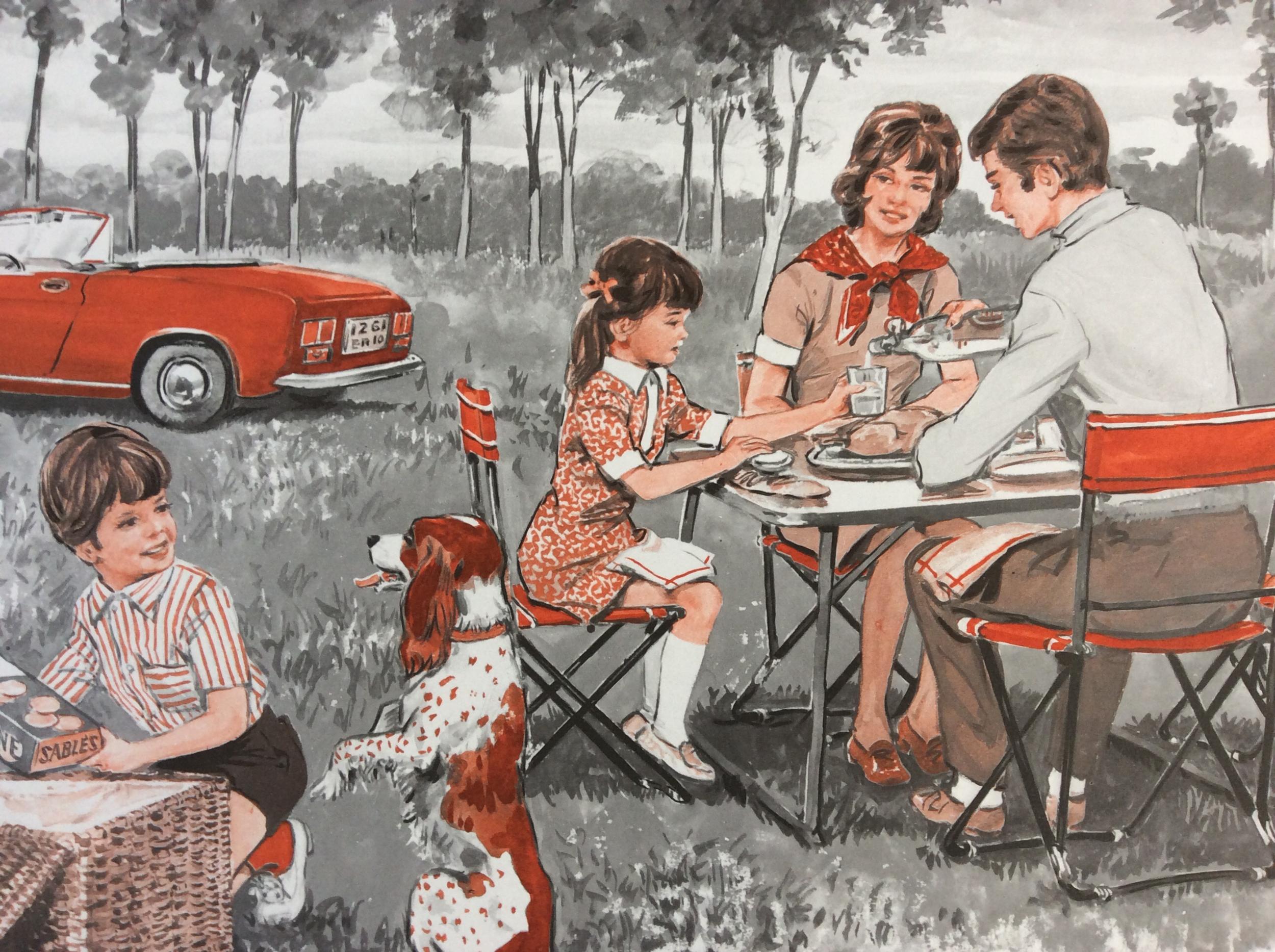 Plaque Métal Déco Pic-nic en Famille
