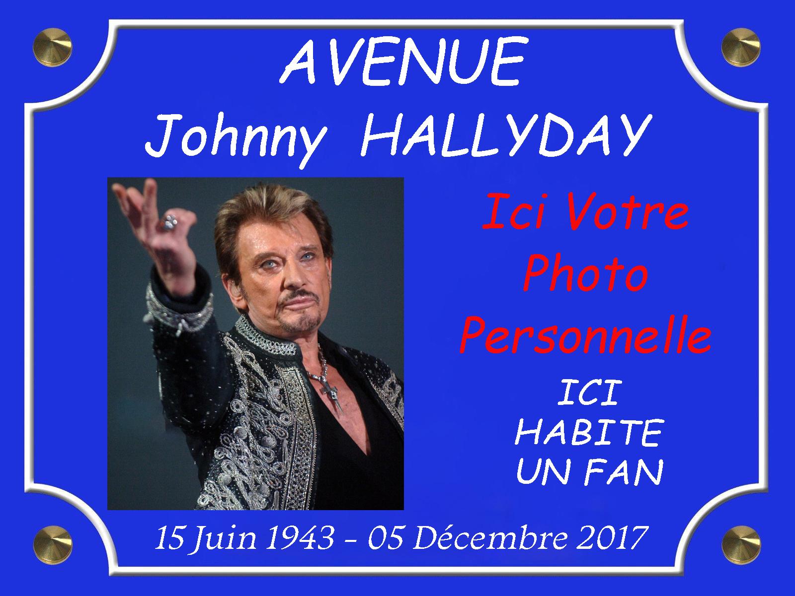 Personnalisé votre plaque de rue Johnny Hallyday