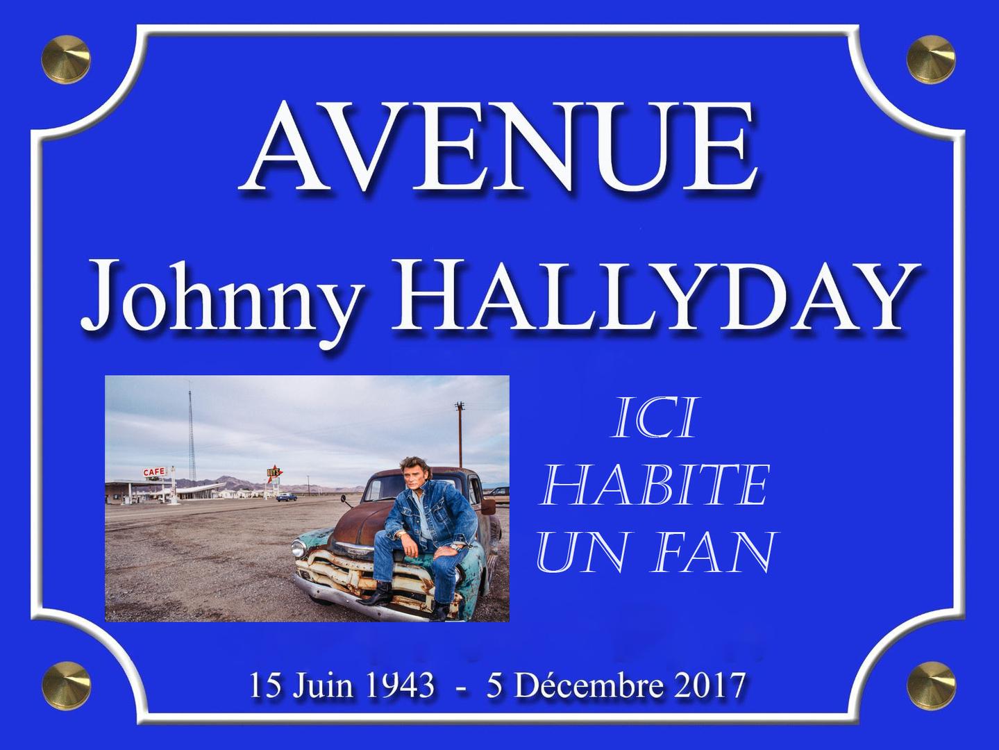AVENUE Johnny HALLYDAY ICI HABITE UN FAN 4 X 4