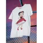T-shirt Betty Boop ROBE ROUGE A POIS.