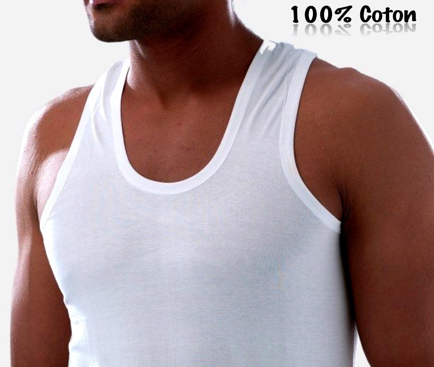 Tee shirt débardeur homme 100 % coton