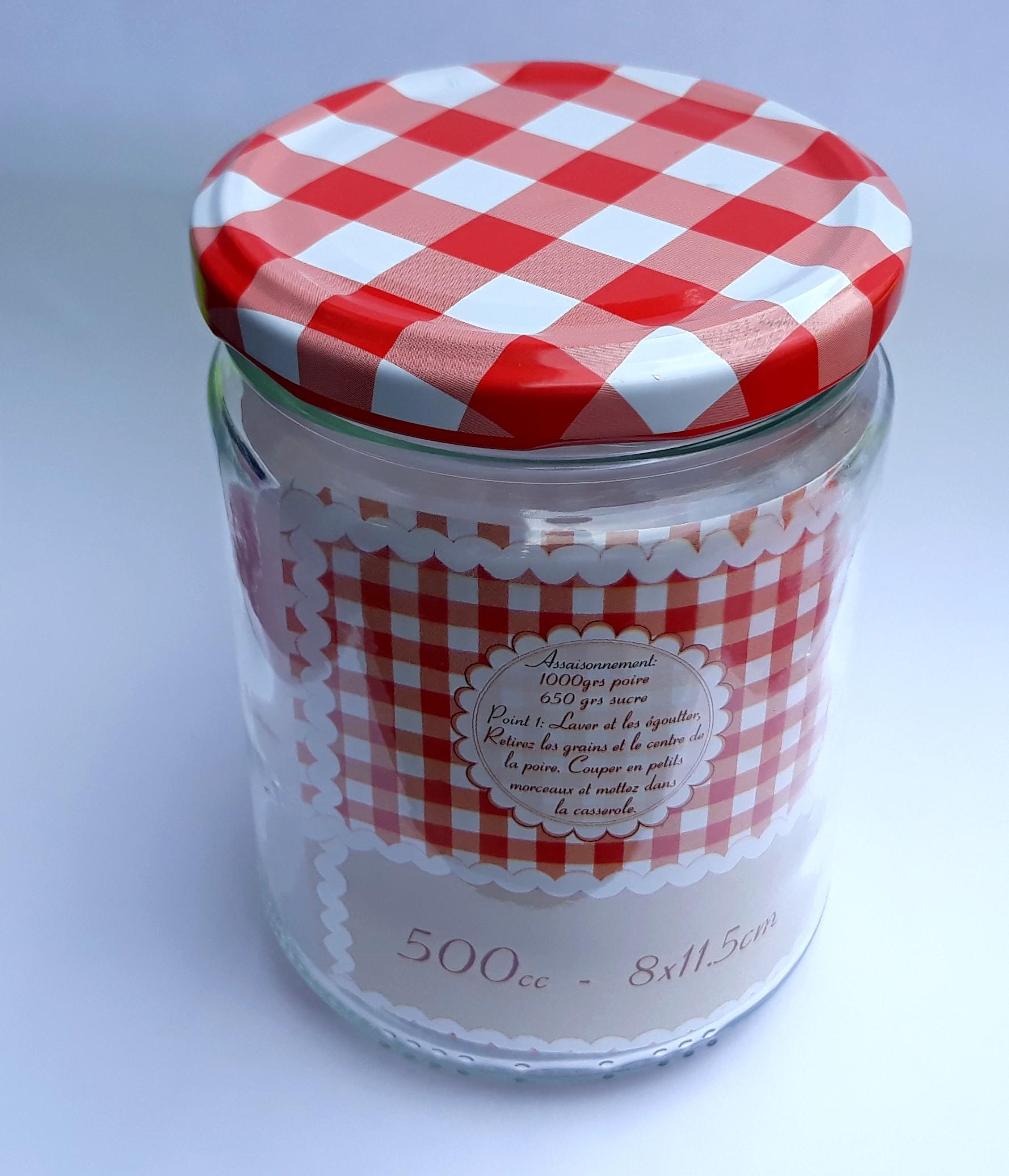 Pot ou bocal à conserve couvercle vichy 500cc