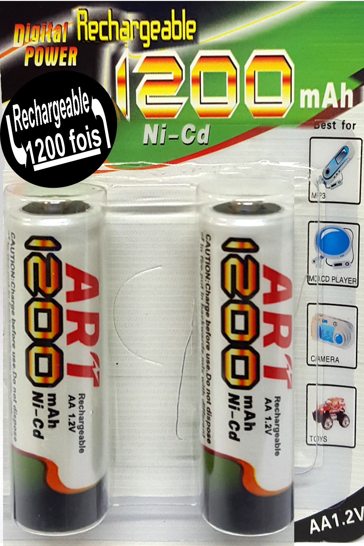 2 Piles Rechargeable AA R6 - 1200 mAh