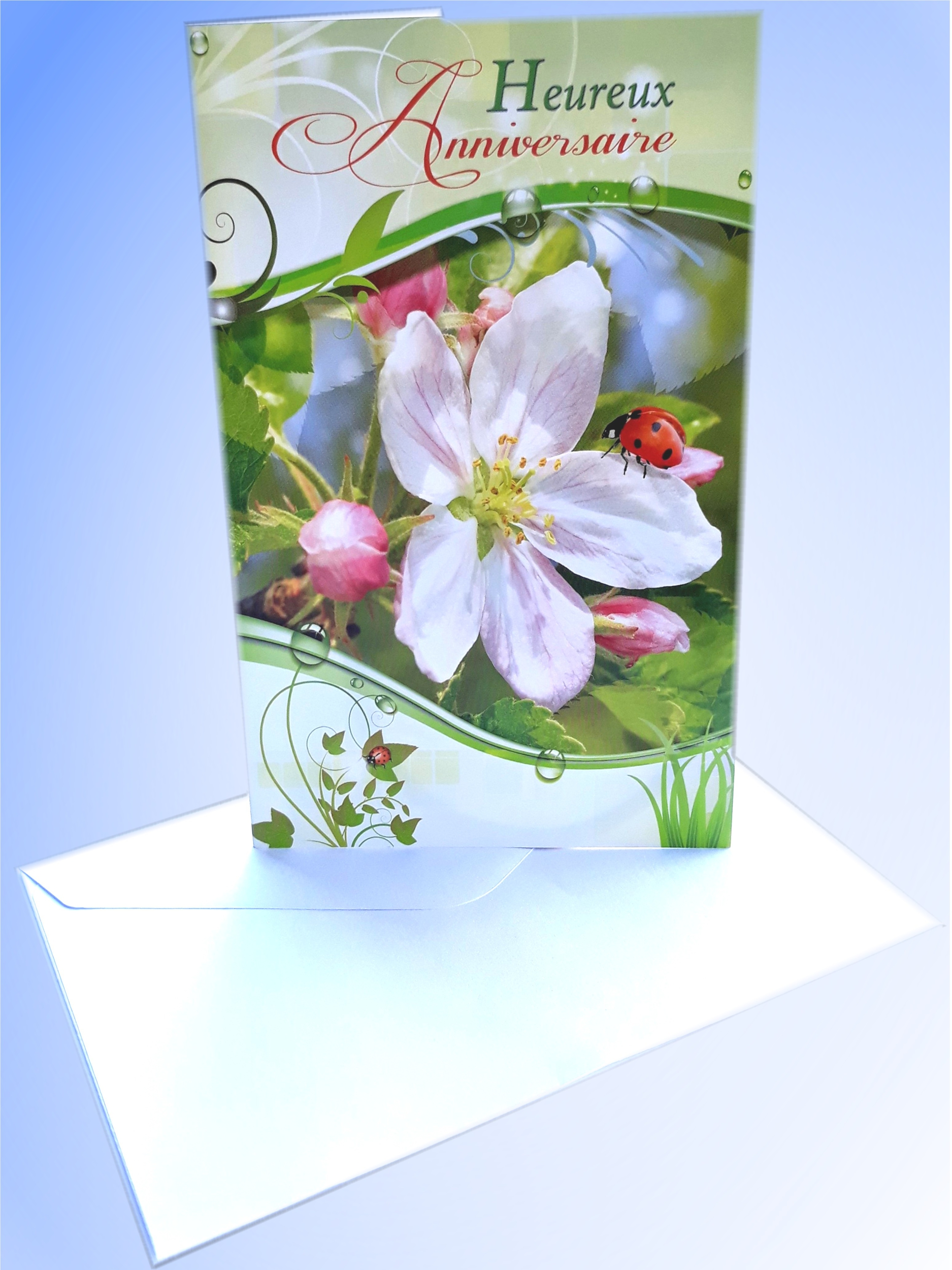 Carte anniversaire avec enveloppe 15 X 17 cm