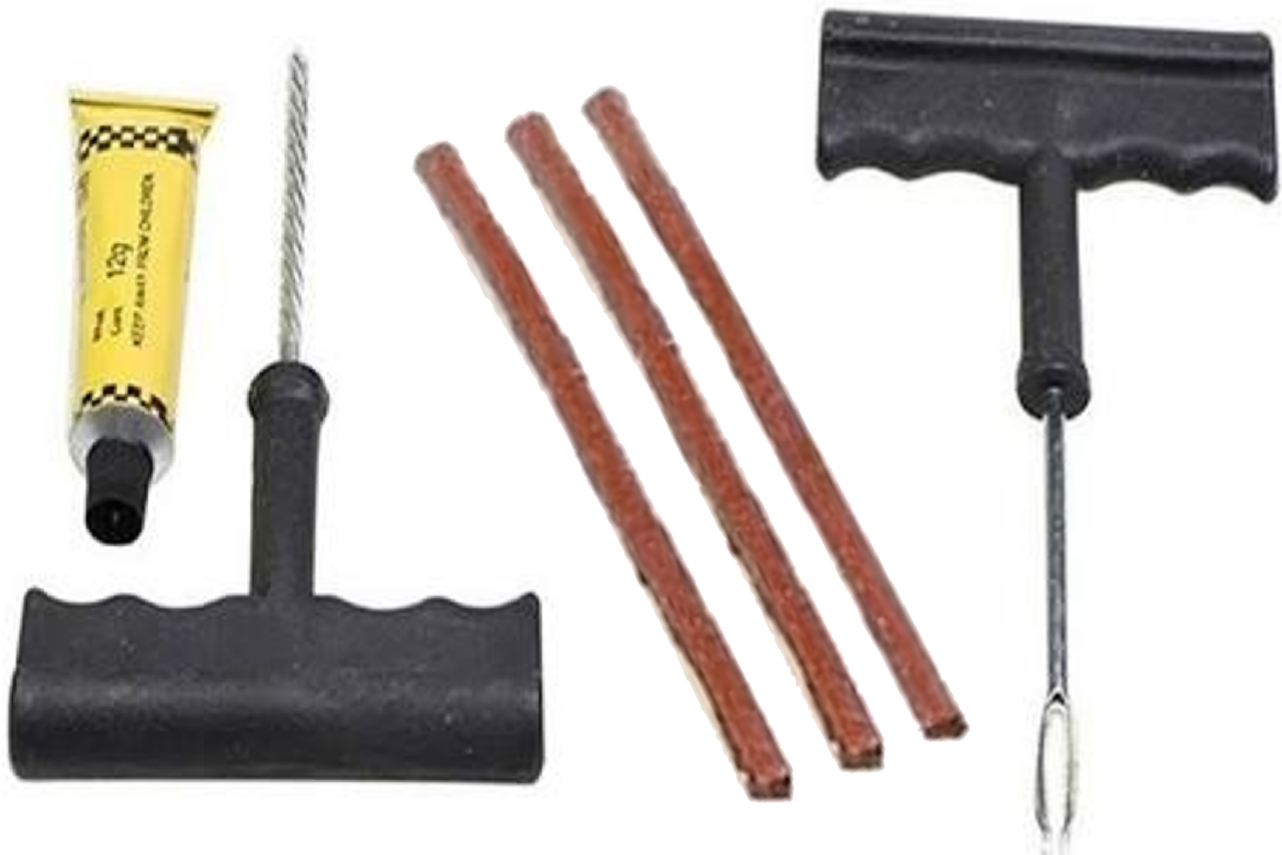 Kit de réparation auto + 3 mèche pneu tubeless